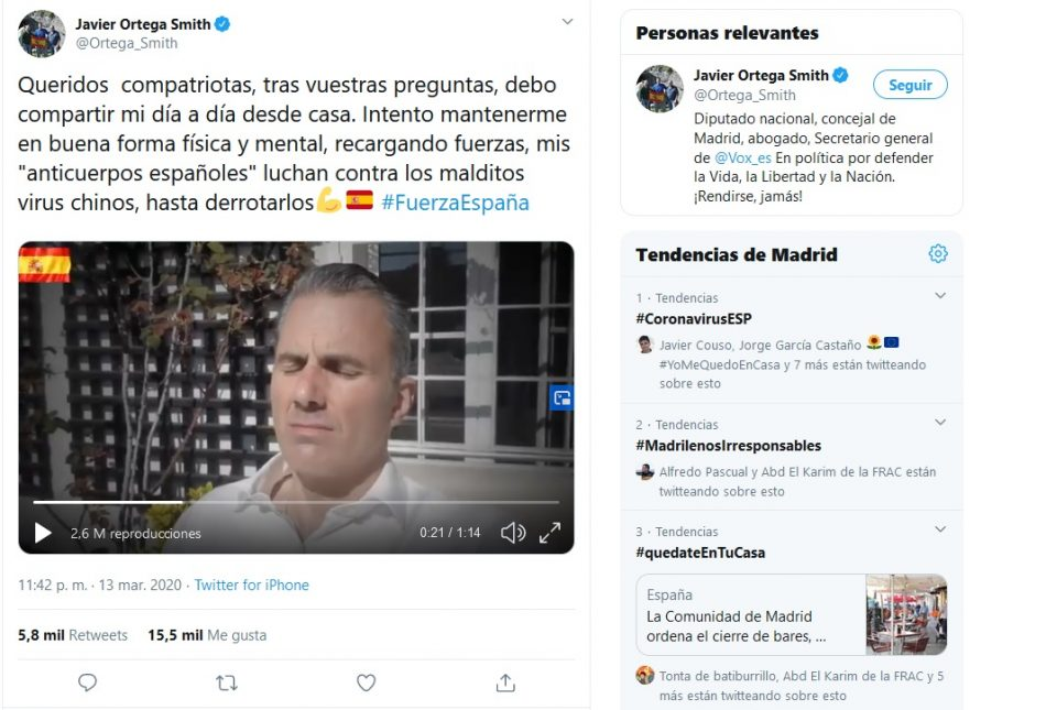 La embajada de China en España denuncia los mensajes de odio de Ortega Smith