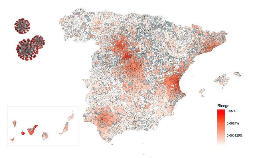 Mapa de riesgo de propagación del coronavirus en España