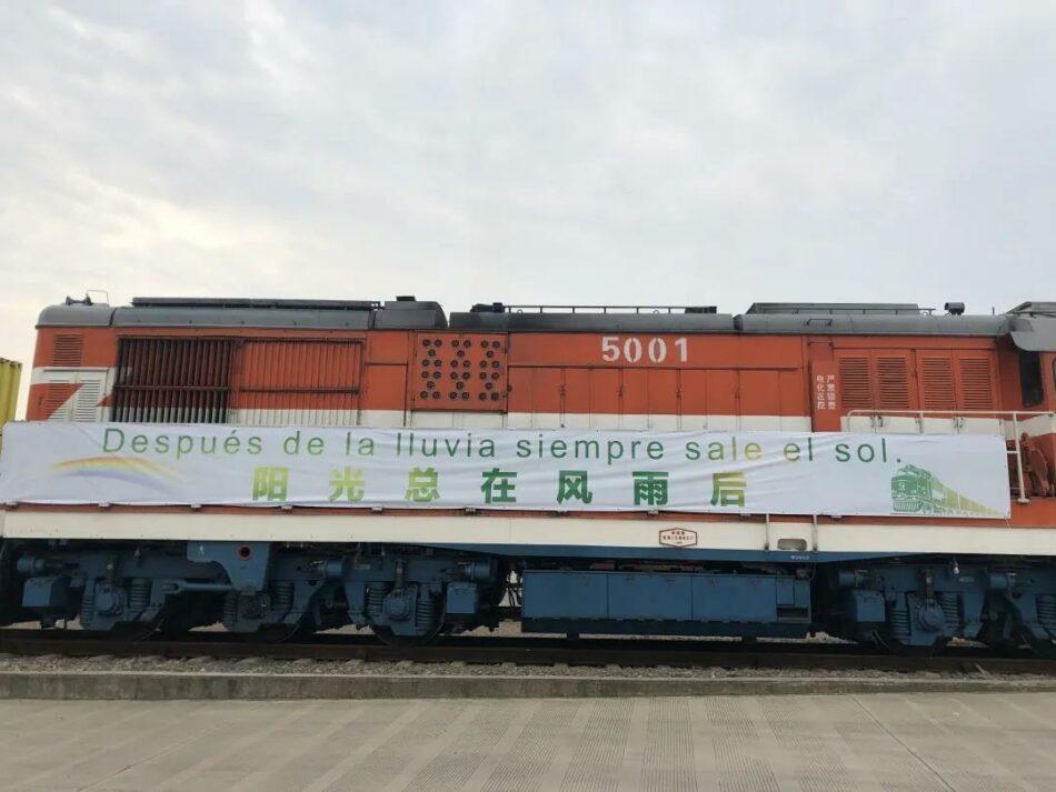 Parte un tren de ayuda contra el COVID 19 desde la ciudad de Yiwu en China, con destino Madrid
