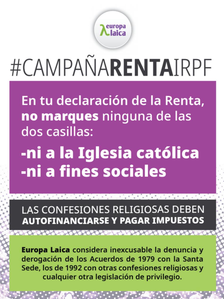 Europa Laica pone en marcha su campaña para proponer que no se marque ninguna de las dos casillas del IRPF