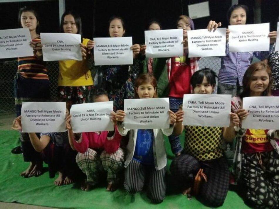 Trabajadores de Inditex en Myanmar denuncian despidos de sindicados aprovechando la crisis sanitaria