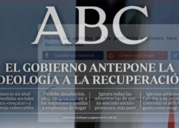 ABC y la portada de la vergüenza: tacha de «ideología» rescatar a los más vulnerables y prohibir desahucios por el COVID-19