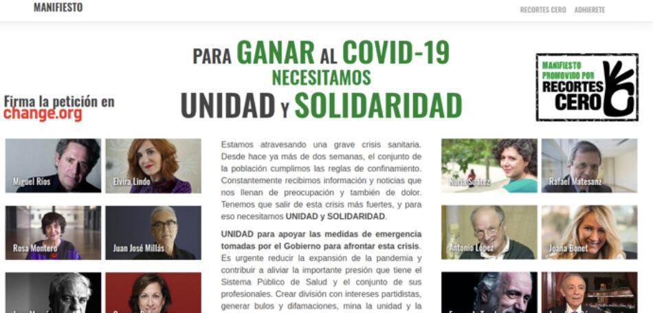 Recortes Cero lanza el «Manifiesto de Unidad y Solidaridad para vencer al Covid-19»