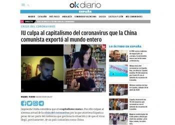 Ok Diario acusa a China de «exportar el virus al mundo entero»