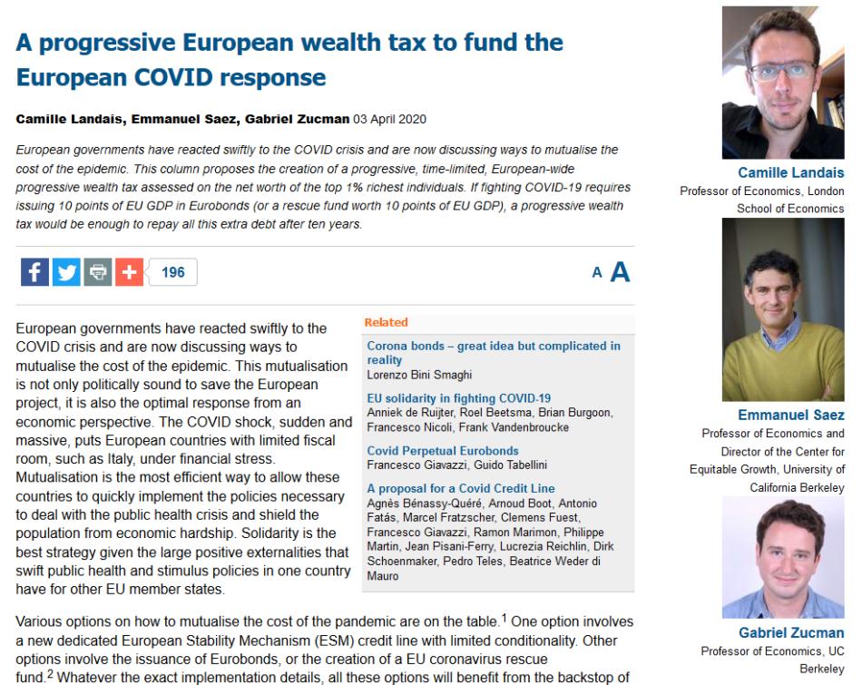 Iglesias difunde un artículo donde se defiende que «un impuesto del 1% a los más ricos permitiría pagar la deuda generada por el coronavirus en diez años»