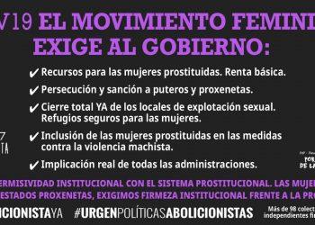 El Movimiento Feminista exige medidas a favor de las mujeres prostituidas durante la pandemia por COVID-19