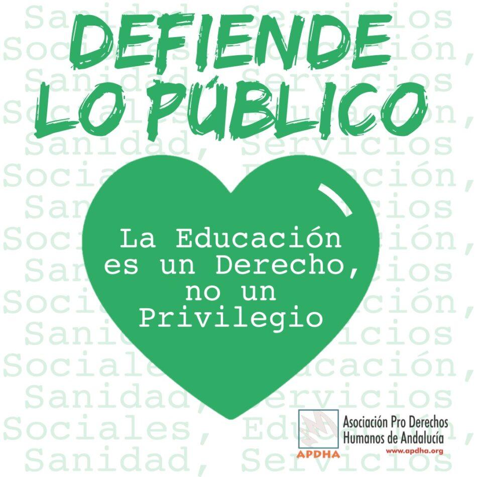 APDHA hace un llamamiento a optar por la escuela pública en la escolarización para el próximo curso