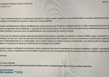 """CCOO exige a los responsables del Infanta Leonor que retiren o rectifiquen el mensaje de """"amenaza velada"""" remitido a la plantilla"""