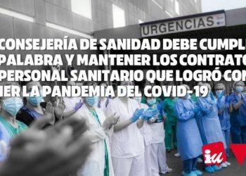 IUCyL exige a la Consejería de Sanidad mantener los Contratos al personal sanitario que logró contener la pandemia del COVD-19 como prometió