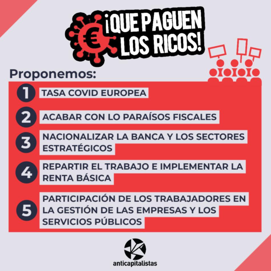 Anticapitalistas lanza una campaña con cinco propuestas para que la crisis del COVID19 la «paguen los ricos»