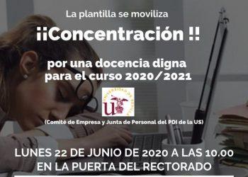 Los docentes universitarios protestan este lunes contra las restricciones de las clases presenciales en la Universidad de Sevilla