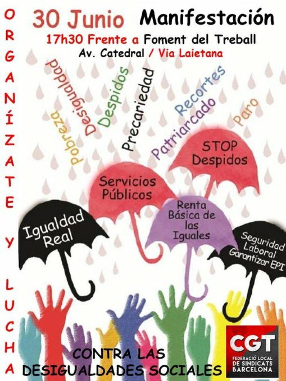 CGT Barcelona: Manifestacion 30 Junio contra las desigualdades