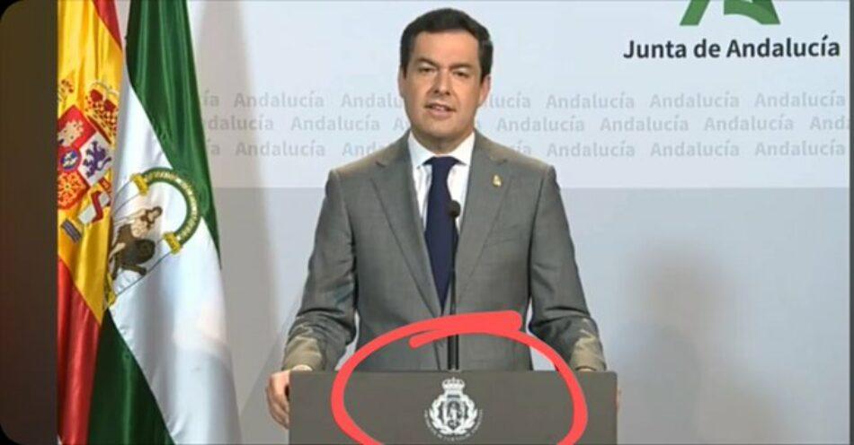 El Defensor del Pueblo Andaluz da la razón a las quejas contra el uso del escudo de Andalucía alterado por parte de Juanma Moreno