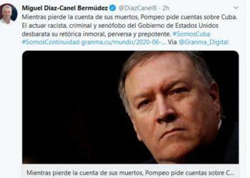 Presidente de Cuba denuncia retórica inmoral y prepotente de EE.UU.