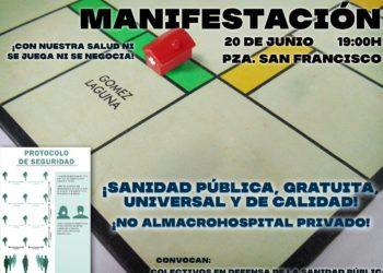 """Manifestación unitaria 20-J en Zaragoza: """"No al macro-hospital privado. En defensa de una sanidad pública, gratuita, universal y de calidad"""""""