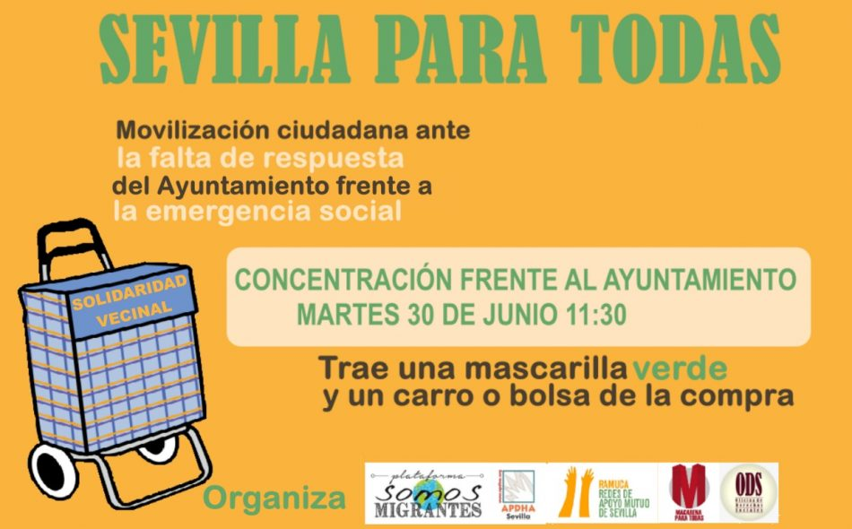 Llamamiento a la población de Sevilla y a colectivos, por una ciudad sin exclusión y segura post Covid-19