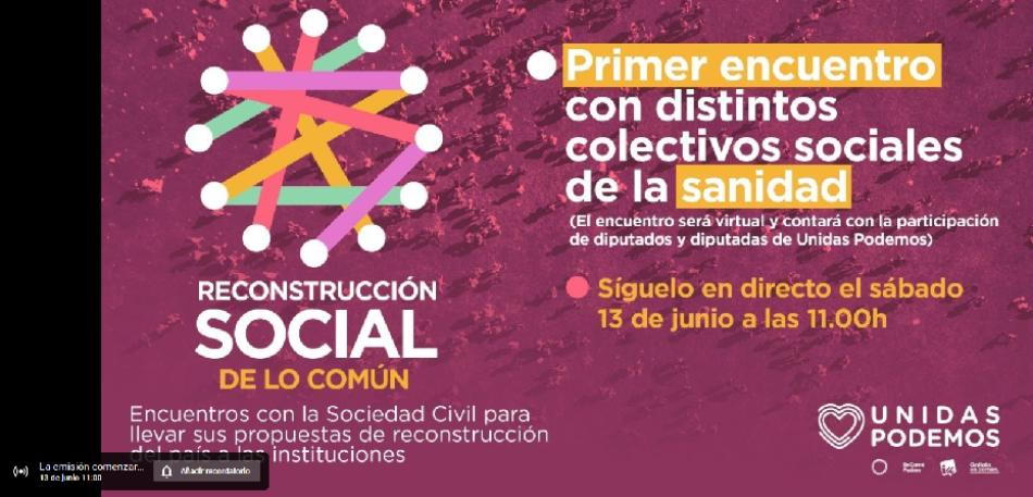 Unidas Podemos arranca mañana sábado una ronda de diálogos con organizaciones y colectivos sociales para abordar el proceso de reconstrucción social de lo común