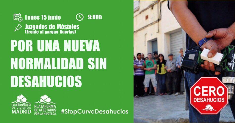 Stop Desahucios Móstoles protesta contra la reactivación de los procedimientos judiciales de desahucio