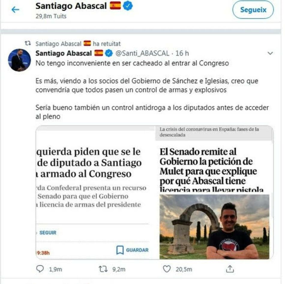 Mulet: «Sobre la pistolas y las drogas de Santiago Abascal: cree el ladrón que todos son de su condición»