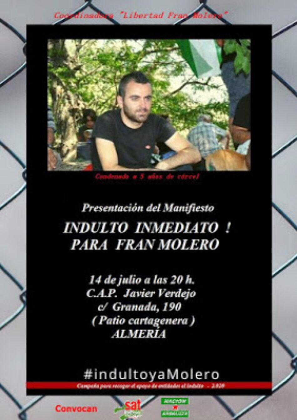 Presentación del Manifiesto para solicitar el indulto de Fran Molero