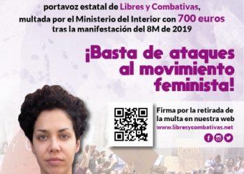 Solidaridad con Ana García, portavoz de Libres y Combativas, multada por el Ministerio del Interior con 700 euros tras la manifestación del 8M de 2019