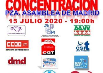 """La movilización unitaria por la sanidad pública llega a las puertas de la Asamblea de Madrid: """"LaSaludTuDerecho, Sanidad 100% pública"""""""