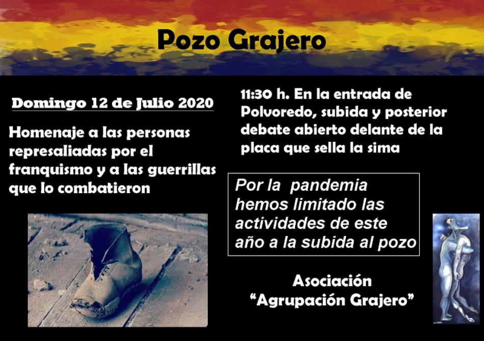 La Agrupación Pozo Grajero invita a participar en el Homenaje a las víctimas del franquismo el domingo 12 de julio