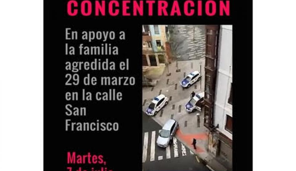 Concentración en apoyo a la familia agredida el 29 de marzo en la calle San Francisco (Bilbao)