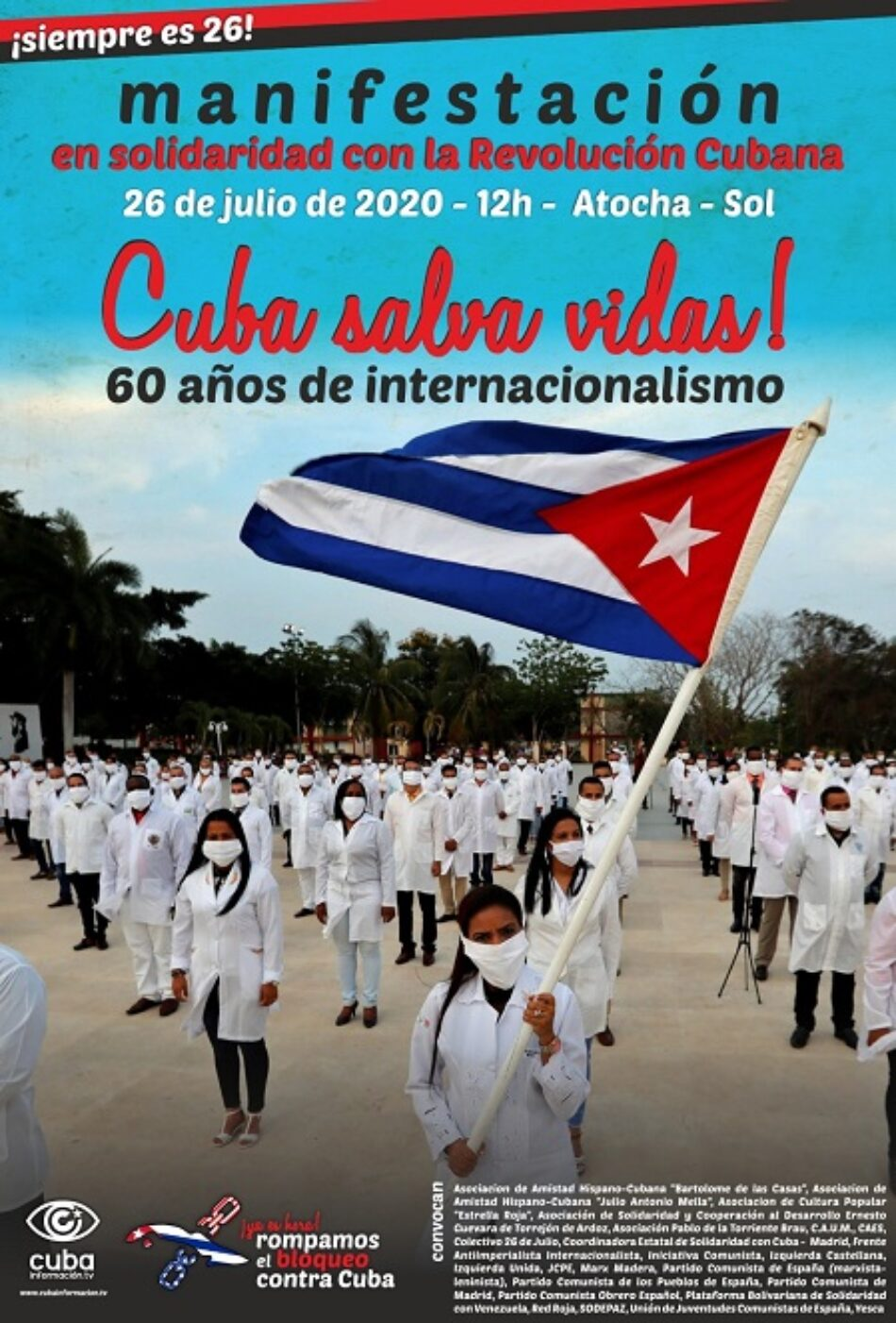 Manifestación Atocha – Sol en solidaridad con la revolución cubana: «¡Cuba salva vidas!»