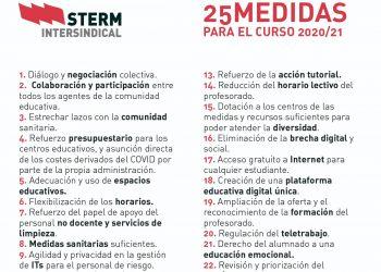 STERM presenta 25 medidas para iniciar el curso 20/21 y exige el inicio de la una negociación real
