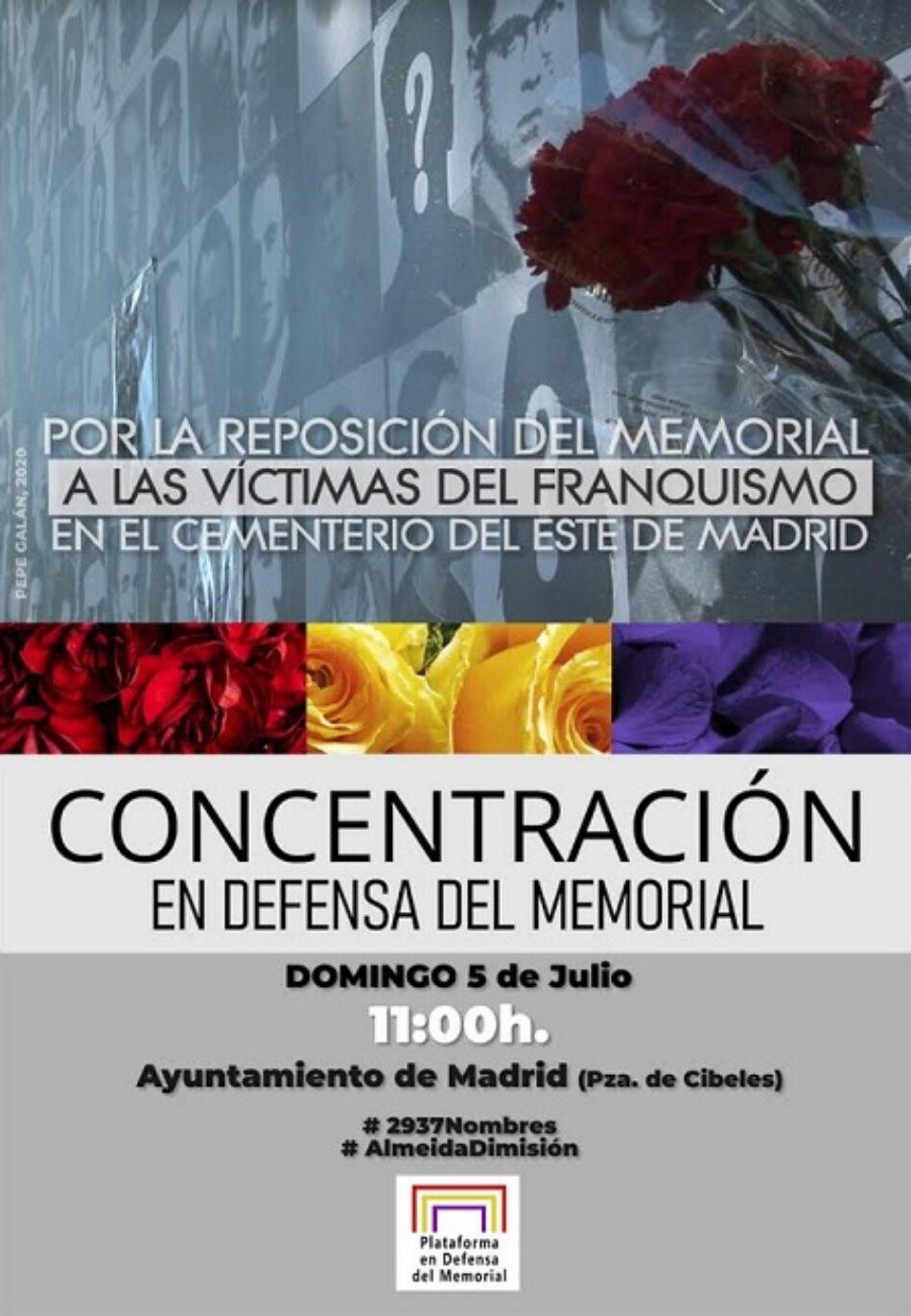5J: Convocada concentración para exigir la reposición del Memorial del Cementerio del Este de Madrid