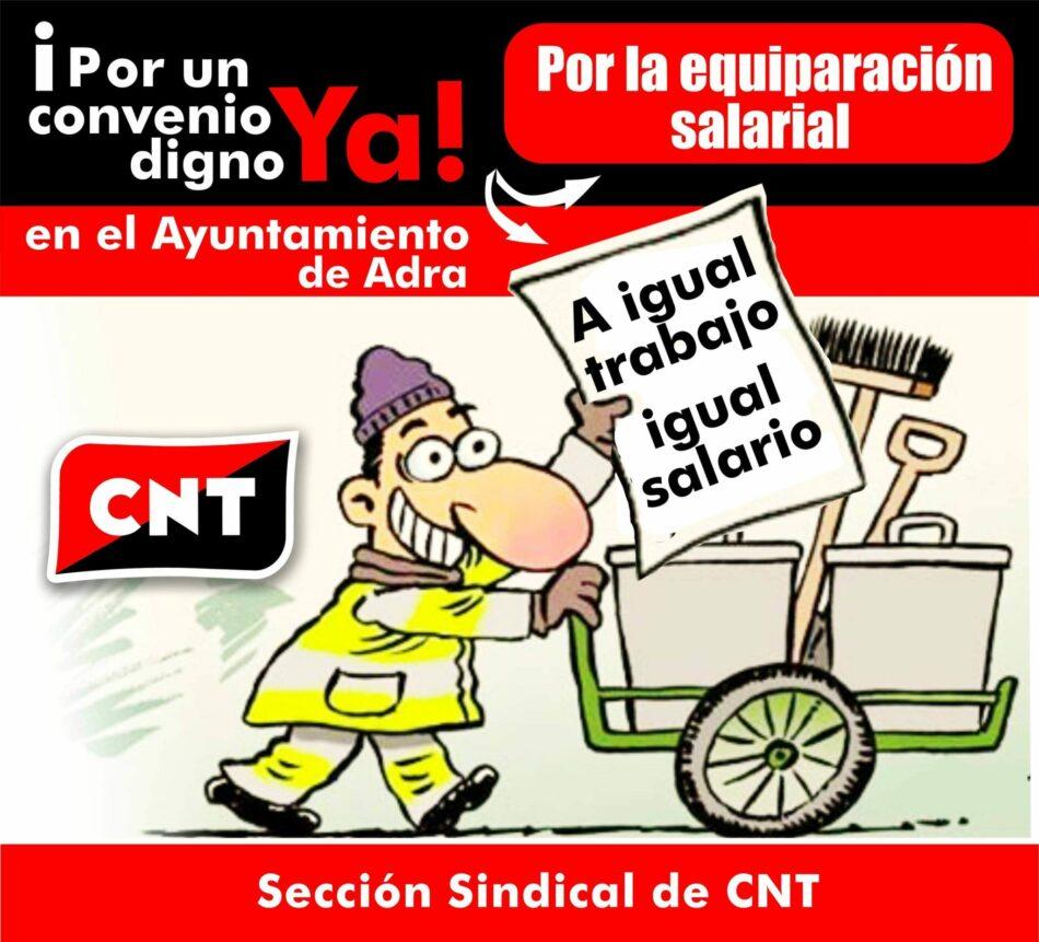CNT exige la denuncia formal del convenio colectivo del personal laboral del Ayuntamiento de Adra (Almería) para acabar con la doble escala salarial