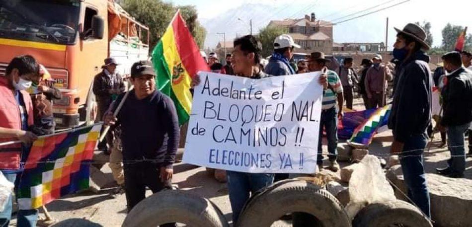 Los bloqueos de caminos de repudio a la dictadura en Bolivia se realizan en todo el país