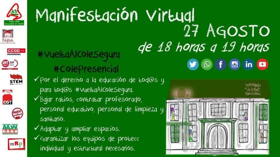 Convocan manifestación virtual en Madrid por una «vuelta al cole segura»