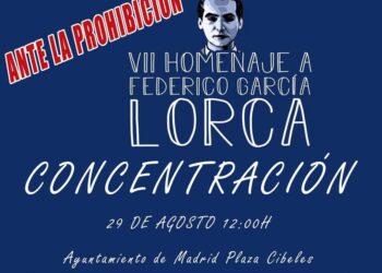 Protesta contra el Ayuntamiento de Madrid por prohibir un homenaje a Lorca