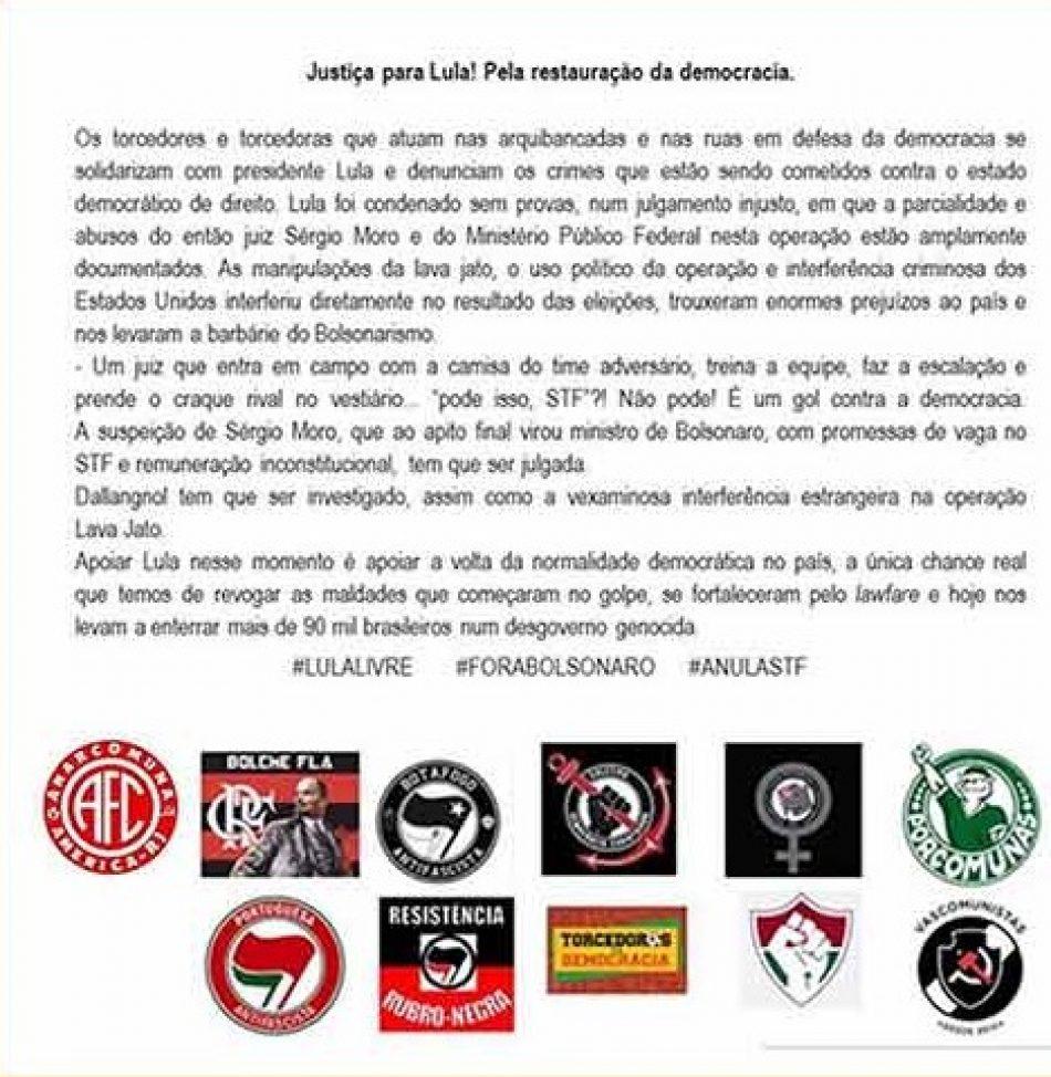 Grupos antifascistas en Brasil piden justicia para Lula