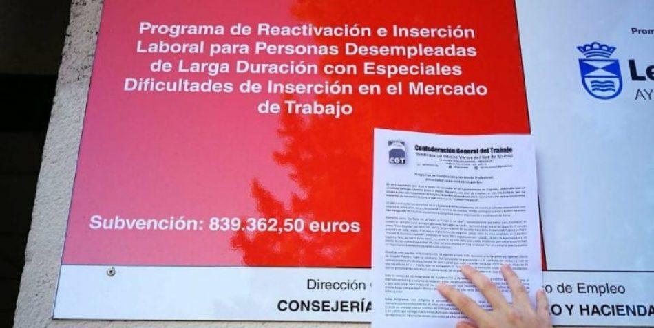 CGT celebra una sentencia del Tribunal Superior madrileño que reconoce el fraude en la contratación de los programas de inserción laboral de Leganés