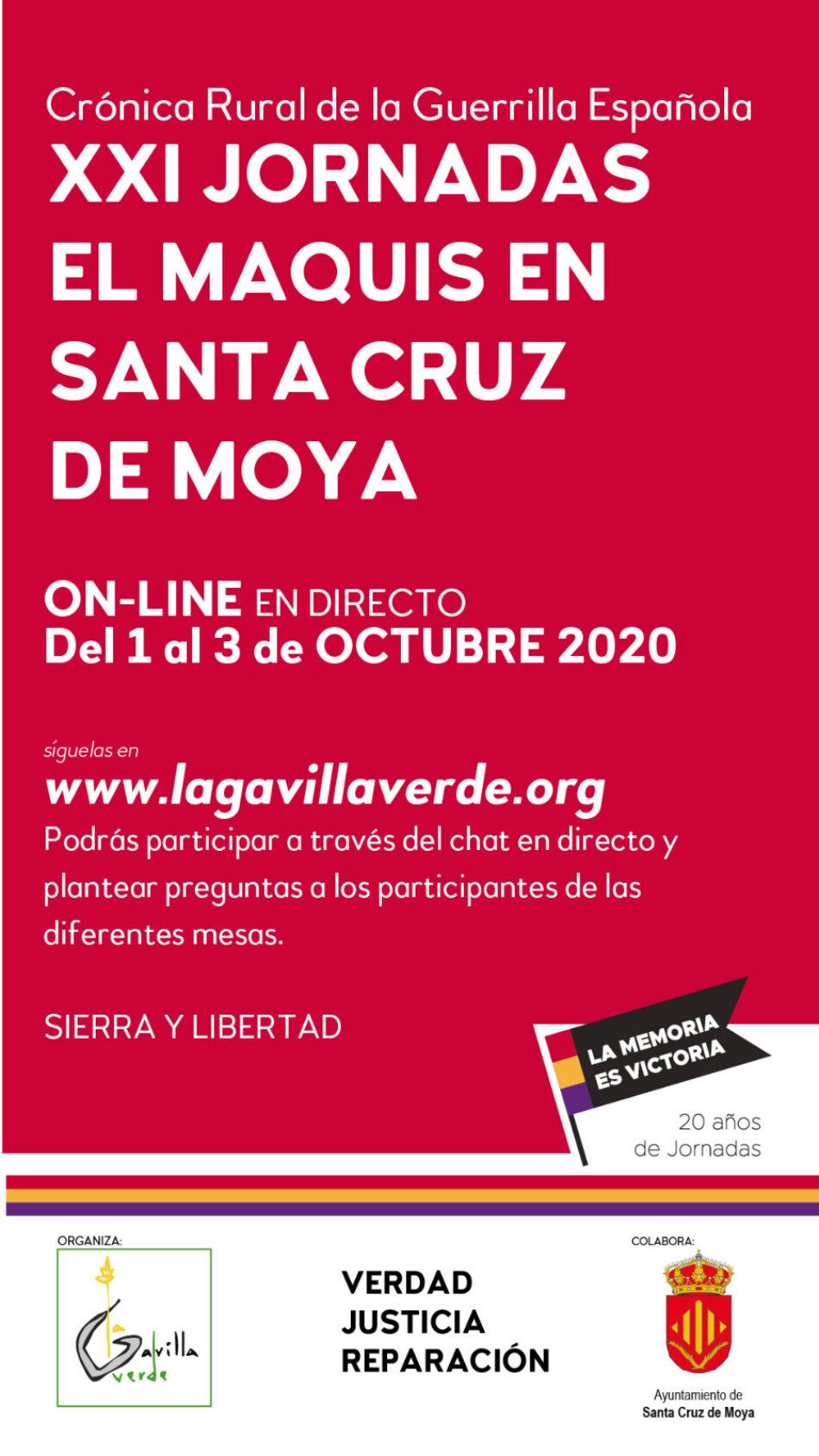 XXI Jornadas el Maquis en Santa Cruz de Moya (Cuenca): Crónica rural de la guerrilla española. Memoria Histórica viva