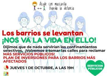 Los barrios madrileños vuelven a levantarse mañana para reclamar más recursos públicos para hacer frente a la pandemia