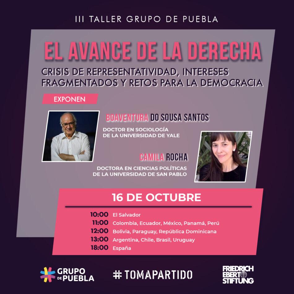 Grupo de Puebla no se detiene: tercer taller interno abordará la crisis de representatividad y los retos para la democracia