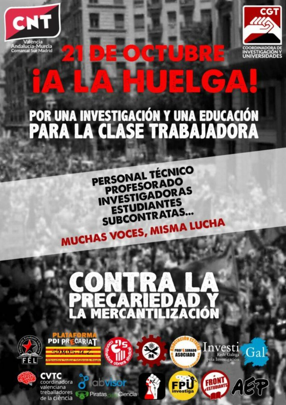 CGT convoca huelga el 21 de octubre en universidades y centros de investigación de todo el Estado