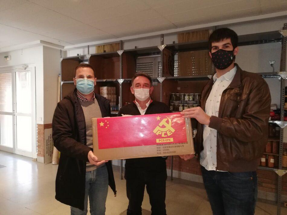 El PCE-EPK Navarra dona 1000 mascarillas sanitarias cedidas por el Partido Comunista de China al Banco de Alimentos de Castejón