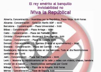 18 de octubre – Movilización unitaria estatal por la República. Una salida republicana a la crisis