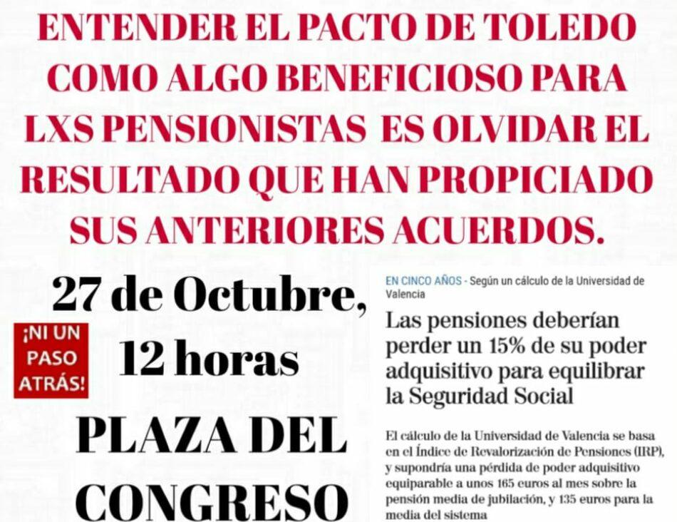 COESPE muestra su rechazo a las recomendaciones acordadas por la Comisión del Pacto de Toledo