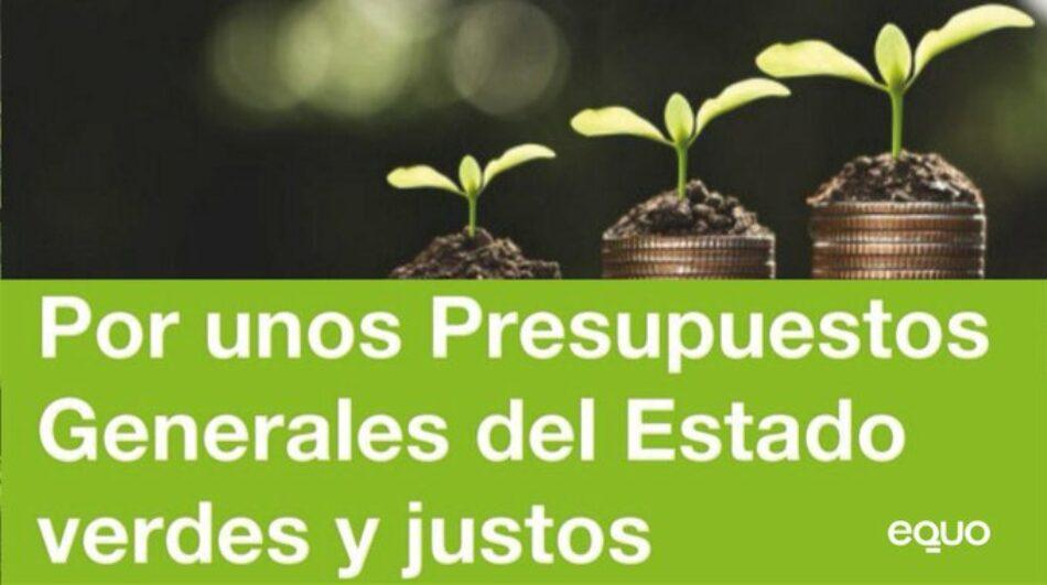 Equo presenta propuestas para unos Presupuestos Generales verdes y justos que respondan a la crisis sanitaria y socioeconómica