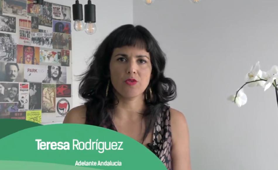Teresa Rodríguez: «seguiremos construyendo esa fuerza política andaluza que nos represente y que tenga voz propia en todas las instituciones del Estado y en Europa»