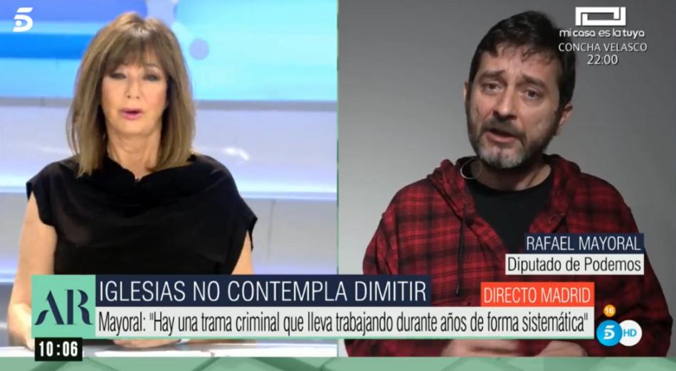 Rafa Mayoral: «No tiene sentido que si se abre una investigación en torno al espionaje e intoxicación contra Podemos gire la pieza contra la persona que ha sido espiada»