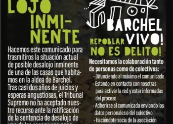 El colectivo de Barchel pide apoyo ante el inminente desalojo de una de las casas de esta aldea repoblada