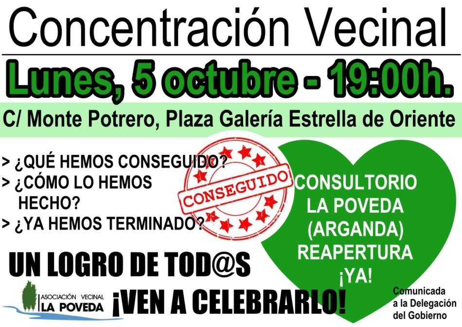 La vecindad de La Poveda (Arganda del Rey, Madrid) celebra la reapertura de su consultorio tras seis meses y medio de movilizaciones