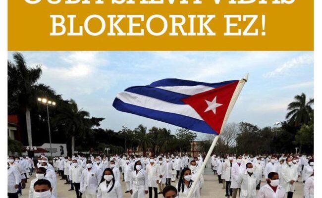 Concentración contra el bloqueo a Cuba unirá a emigración cubana, sindicatos, partidos y colectivos vascos: Bilbao, 10 de Octubre